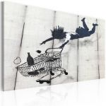 Obraz - Falling woman with supermarket trolley (Banksy)
