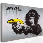 Obraz - Stop or the monkey will shoot! (Banksy)