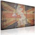 Obraz - Map of Great Britain - triptych