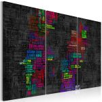 Obraz - Map of Sweden (colored names of cities) - triptych