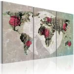 Obraz - Map of the World: Full moon - triptych