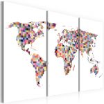 Obraz - Map of the World - pixels - triptych