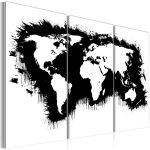 Obraz - Monochromatic map of the World - triptych