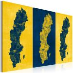 Obraz - Painted map of Sweden - triptych