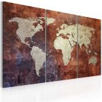 Obraz - Rusty map of the World - triptych