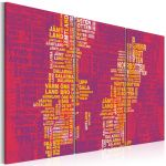 Obraz - Text map of Sweden (pink background) - triptych