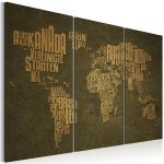 Obraz - The map of the World, German language:Beige continents - triptych
