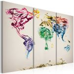 Obraz - The World map - colored smoke trails - triptych