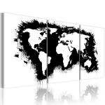 Obraz - The World map in black-and-white