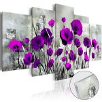 Obraz na akrylátovém skle - Meadow: Purple Poppies [Glass]