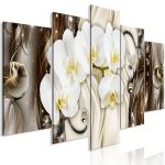 Obraz - Orchid Waterfall (5 Parts) Wide Brown