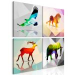 Obraz - Colourful Animals (4 Parts)