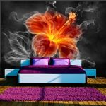 Fototapeta - Fiery flower inside the smoke