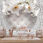 Fototapeta - Lilies and Quilted Background