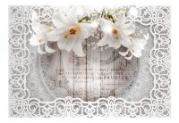Fototapeta - Lilies and Wooden Background