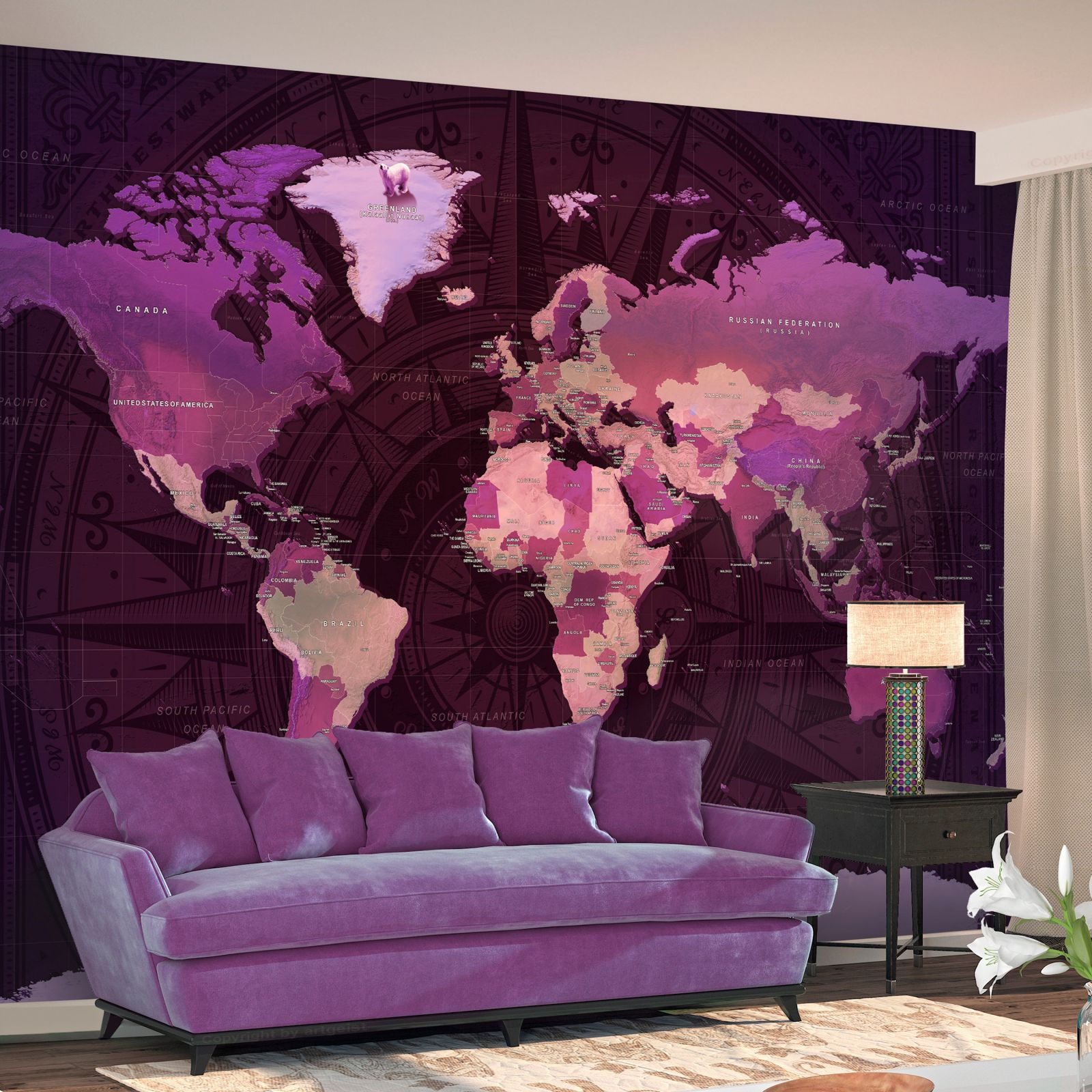 Fototapeta - Purple World Map