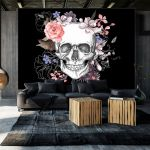 Fototapeta - Skull and Flowers