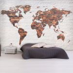 Fototapeta - World Map: Brick Wall