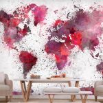 Fototapeta - World Map: Red Watercolors