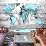Fototapeta - World Map: Blue Continents