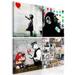 Obraz - Banksy Collage (4 Parts)