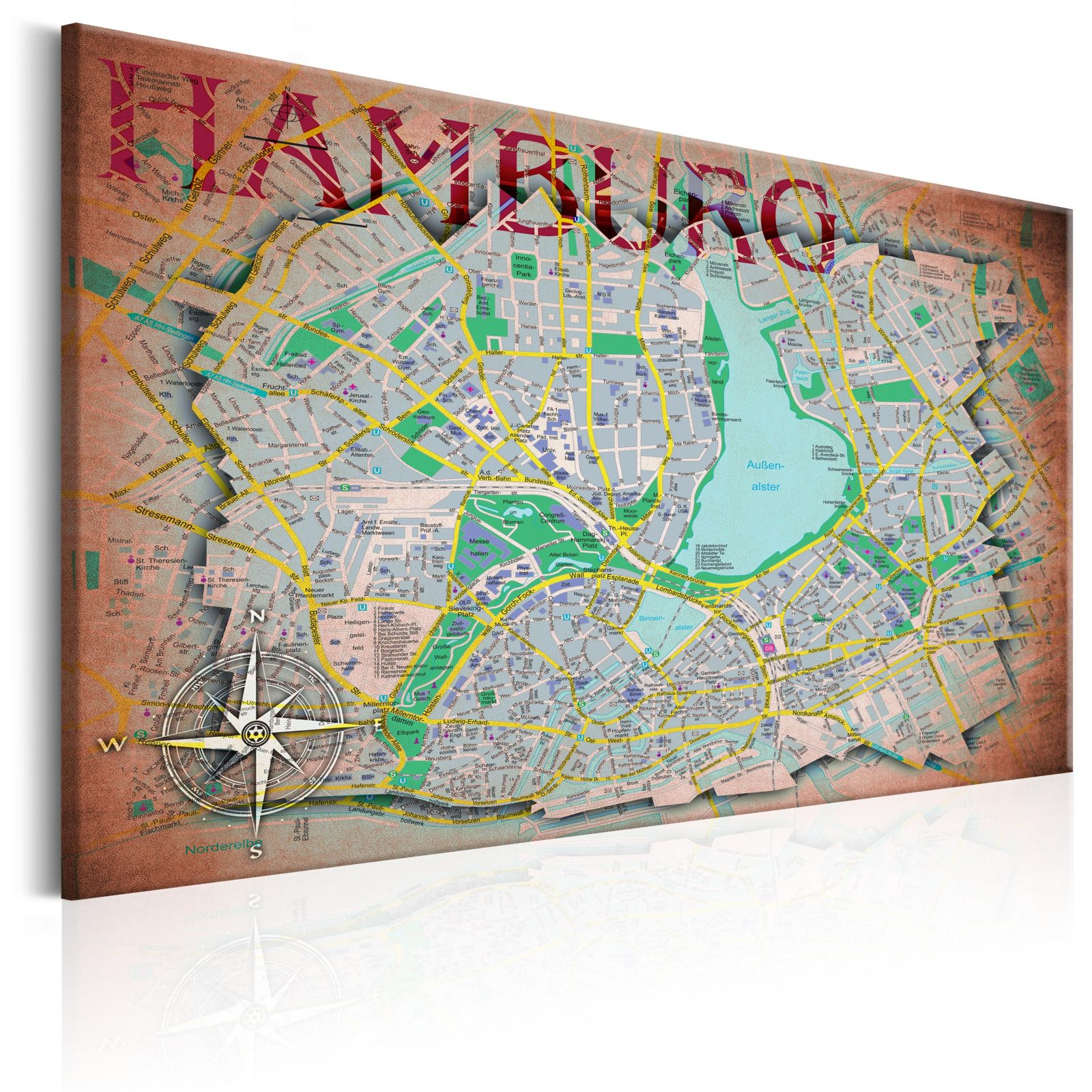 Obraz - Map of Hamburg