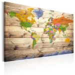 Obraz - Map on wood: Colourful Travels