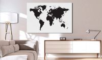 Obraz - World Map: Black & White Elegance
