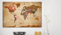 Obraz - World Map: Brown Elegance