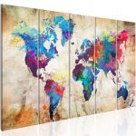 Obraz - World Map: Colourful Ink Blots