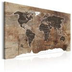 Obraz - World Map: Wooden Mosaic