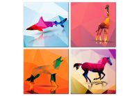 Obraz - Geometric Animals (4 Parts)