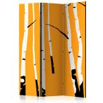 Paraván - Birches on the orange background