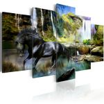 Obraz - Black horse on the background of paradise waterfall